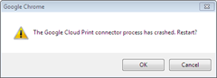 Google Cloud Print Connector process crash error