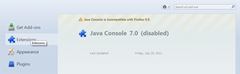Java Console 7 is disabled