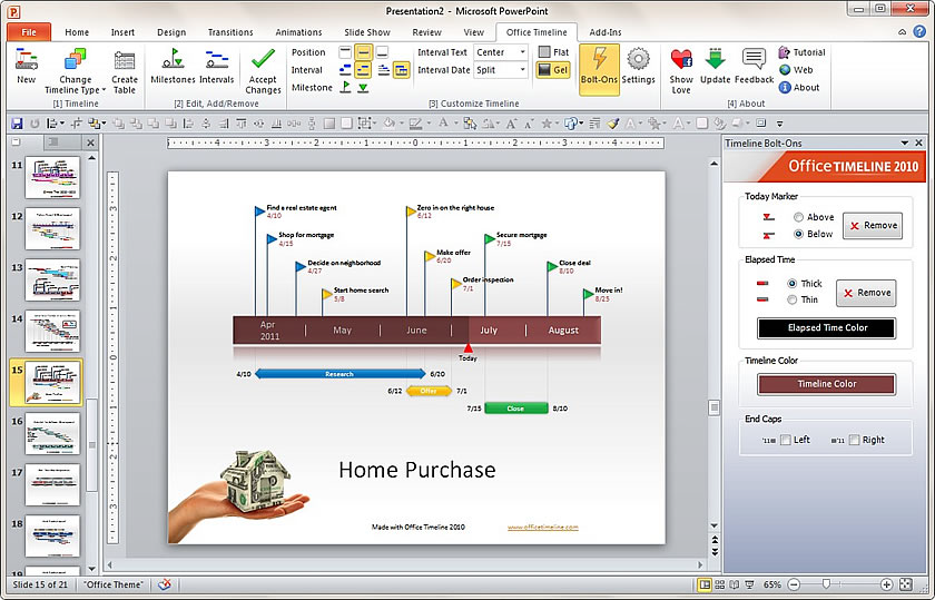 office timeline 2010 lets you create timelines using