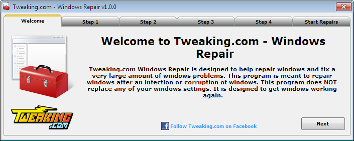 Tweaking.com \u2013 Windows Repair: All-In-One Windows Repair Tool