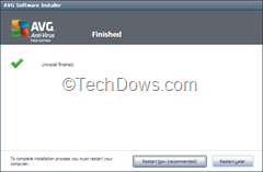 AVG 2012 uninstall completed