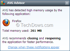 AVG Advisor Notification
