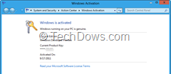 Windows 8 activation details