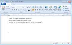 WordPad in Windows 7 after installing WordPadFix
