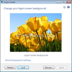 changed windows 7  logon screen