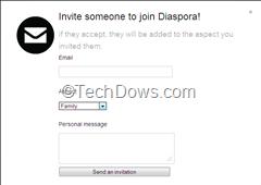 invite via email to Diaspora