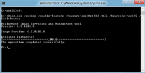 net enabled successfully 300x151 Enable .NET Framework 3.5.1 on Windows 8 Developer Preview to Run Applications