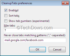 CleanupTabs Preferences