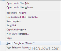 search for item in Firefox Context menu