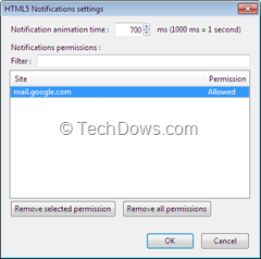 HTML5 Notifications add-on settings