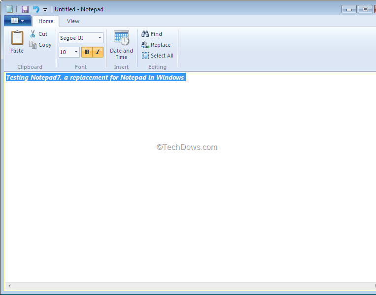 Notepad7, Notepad for Window 7 with Office 2010 Ribbon/UI