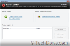 Rescue Center thumb Advanced SystemCare 5 Final Released with Active Boost Feature and Other Improvements