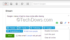 clear all added circles after sharing with Circle Management for Google Plus