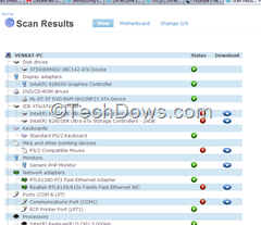 device drivers info with missing drivers shown on DriverZone