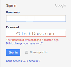 gmail old password used