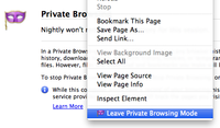leave private browsing mode from context menu