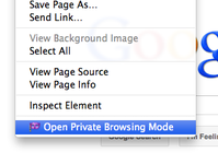 open private browsing mode from right click menu
