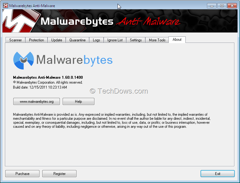 Is the malware bytes anti malware download link phone popup screen