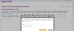 Yahoo Second Sign-in verification setup