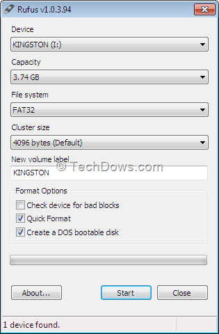 Create DOS Bootable USB Flash Drive with Rufus