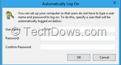 automatically log on window