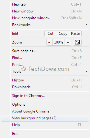 google chrome background pages and apps how to close them