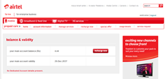 Airtel Prepaid blanance and validity shows for prepaid account