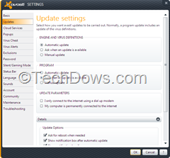 Avast 7 Settings