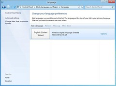 Windows 8 Language preferences section