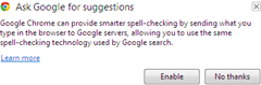 enable ask google for suggestions