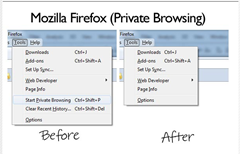 private browsing mode option removed from Firefox