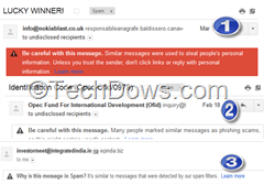 Gmail's explanation for spam messages