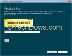 enter Windows 8 consumer preview product key