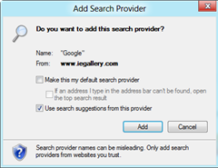 add search provider dialog thumb Set Google as Default Search Engine in Internet Explorer 10
