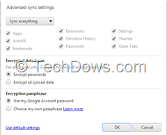 open tabs in Advanced Sync Settings