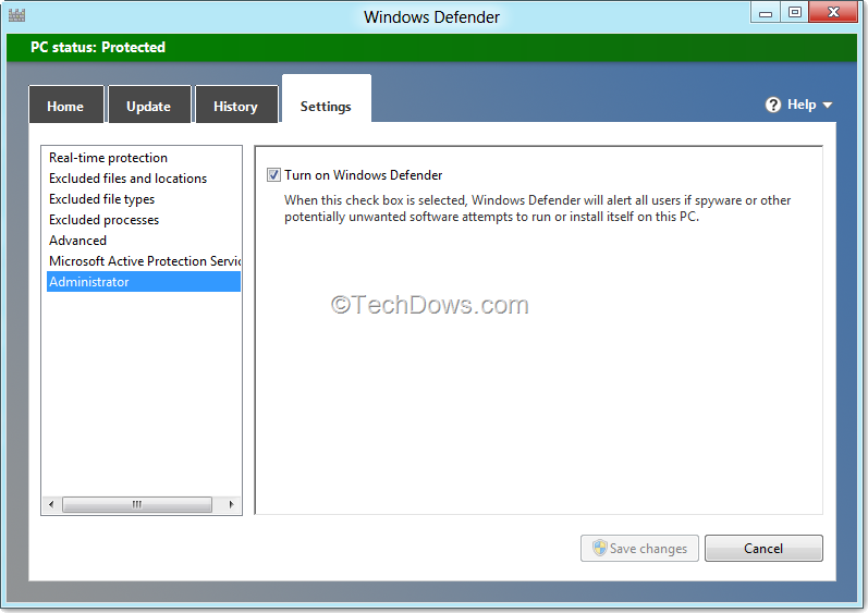 How to Disable or Turn off Windows Defender in Windows 8