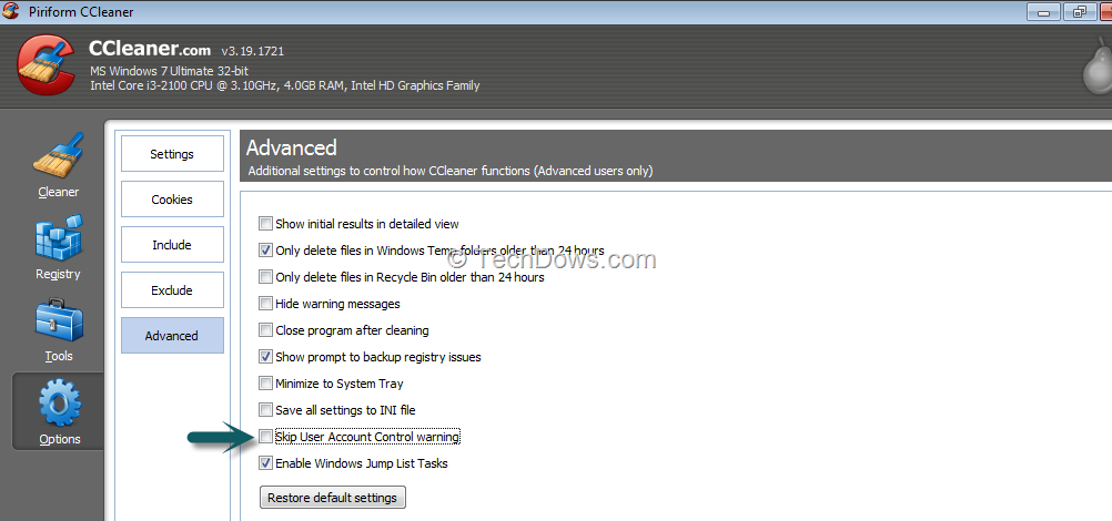 Piriform ccleaner user account control