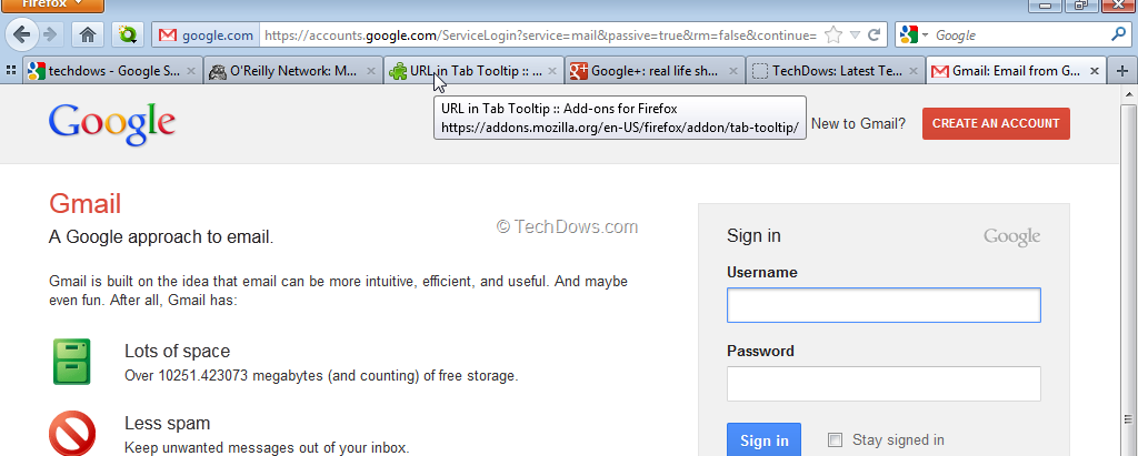 View URL of Inactive Tabs On Tab Bar in Firefox Without Switching or