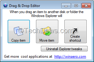Drag 'n' Drop Editor: Set Windows Explorer to Copy/Move/ Create
