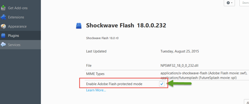 Enable Flash Player Protected Mode Option for Shockwave Flash Plugin