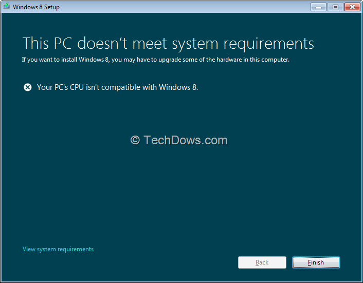 "Workaround for ""Your PC's CPU isn't Compatible with Windows 8 ..."