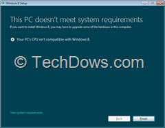 "your PCs cpu not Windows 8 compatible thumb Workaround for ""Your PC's CPU isn't Compatible with Windows 8"" Error Message"