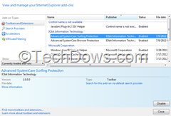 ASC Surfing Protection IE add on and BHO thumb How to Disable or Remove Advanced SystemCare Surfing Protection Feature and Add ons from Browsers