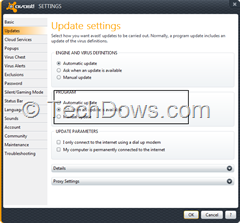 Avast Program update settings thumb Set Avast to Install Program Updates Automatically