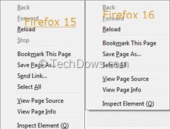 Firefox 15 and Firefox 16 context menus
