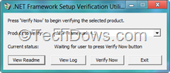 .NET framework setup verification utility