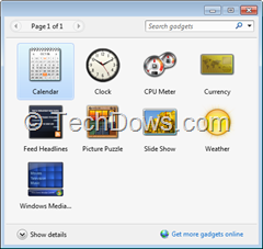 Windows Sidebar with gadgets