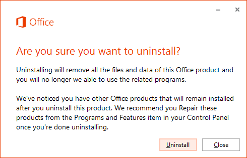 office uninstall dialog