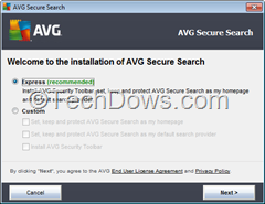 AVG Secure Search setup