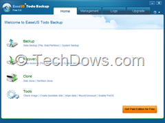 EaseUs Todo Backup Free 5.0 ui thumb EaseUs Todo Backup Free 5.0 Release adds Microsoft Outlook and Windows 7 Libraries Support